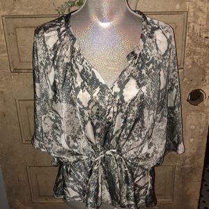 Snakeskin polyester blouse